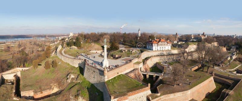 Forteresse de Belgrade, vue aérienne photos libres de droits