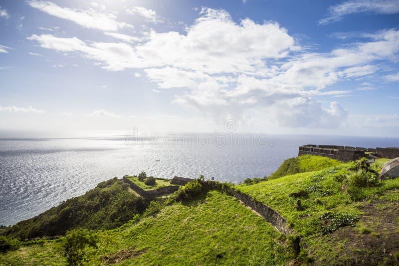 Forteresse de colline de soufre dans St Kitts image libre de droits