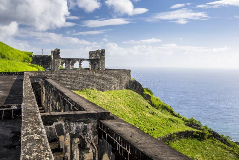 Forteresse de colline de soufre dans St Kitts images stock
