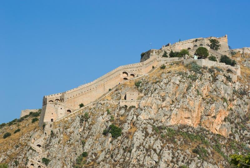Forteresse de Palamidi sur la colline de Nafplio, Grèce photo libre de droits