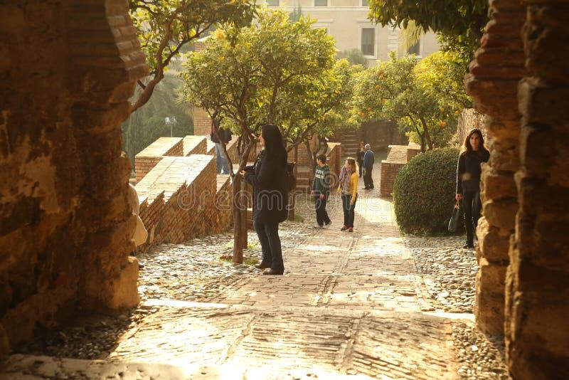 Forteresse intérieure d'Alcazaba photographie stock