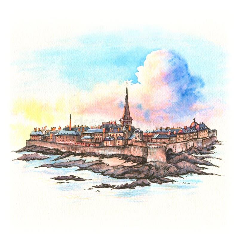 Forteresse médiévale Saint Malo, la Bretagne, France illustration de vecteur