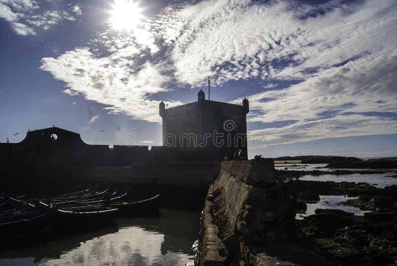 Forteresse sur la côte du Maroc image libre de droits