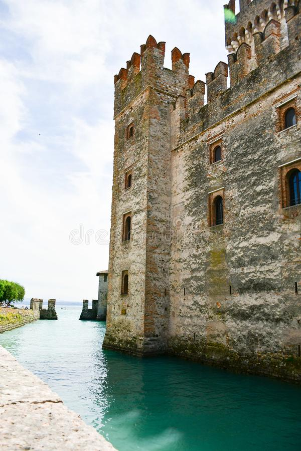 Sirmione on Garda lake Lago di Garda, Italy. Fortess in the old town Sirmione on Garda lake Lago di Garda royalty free stock image