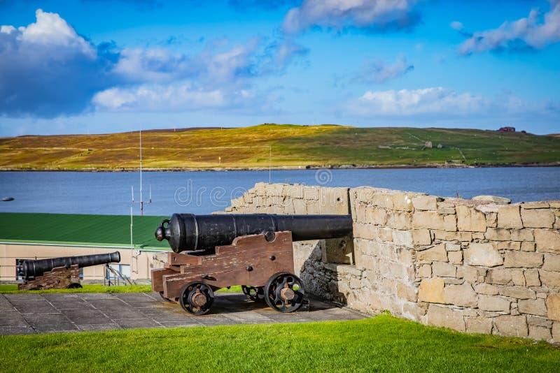 Fortet Charlotte i mitten av Lerwick, Shetland, är ettsidartillerifort, med bastioner på varje hörn Skottland som förenas royaltyfri bild