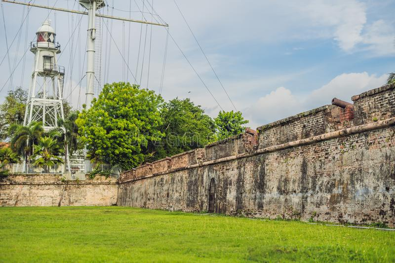 Fortet Cornwallis i Georgetown, Penang, är ett stjärnafort som byggs av Britten Öst Indien Företag i det sena 18th århundradet, d royaltyfria bilder