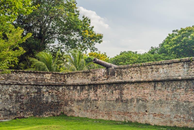 Fortet Cornwallis i Georgetown, Penang, är ett stjärnafort som byggs av t arkivbild