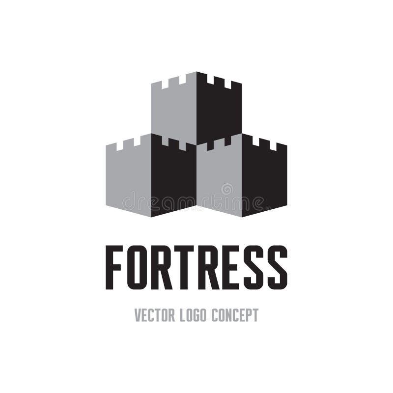 Fortezza - concetto creativo del segno di logo Illustrazione dell'estratto della torre del castello Modello di logo di vettore royalty illustrazione gratis