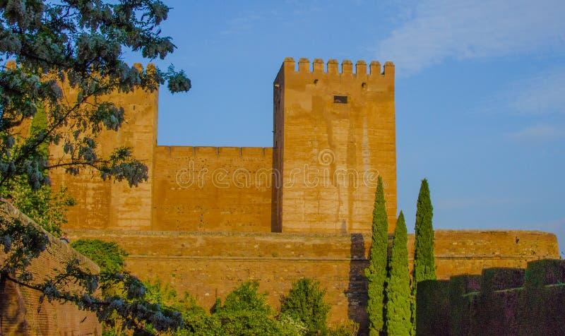 Fortezza della Spagna, di Granada, di moresco, vicinanza del palazzo dei motivi di Alhambra e giardini fotografia stock