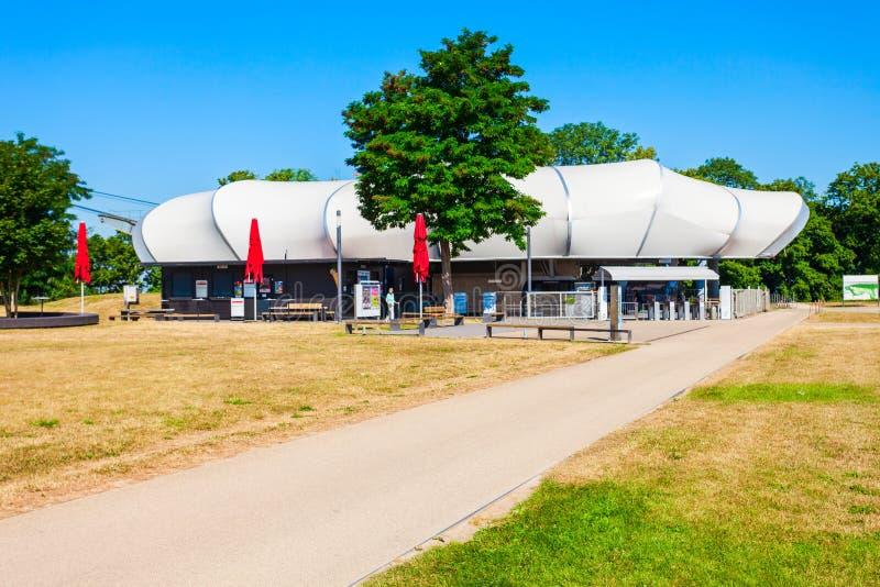 Fortezza di Ehrenbreitstein della cabina di funivia, Coblenza immagini stock libere da diritti