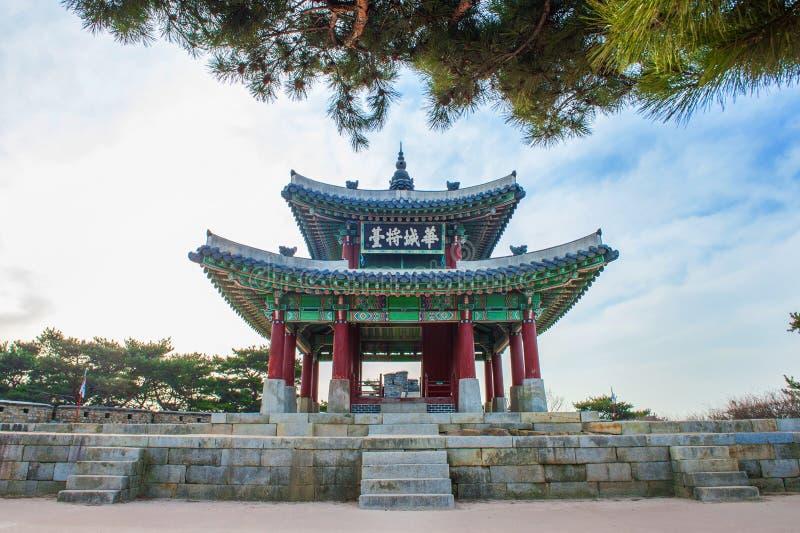 Fortezza di Hwaseong a Suwon, famoso in Corea fotografie stock libere da diritti