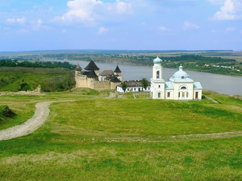 Fortezza di Khotyn e chiesa di Alexander Nevsky fotografia stock
