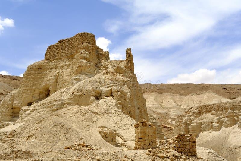 Fortezza di Zohar nel deserto della Giudea. fotografia stock libera da diritti