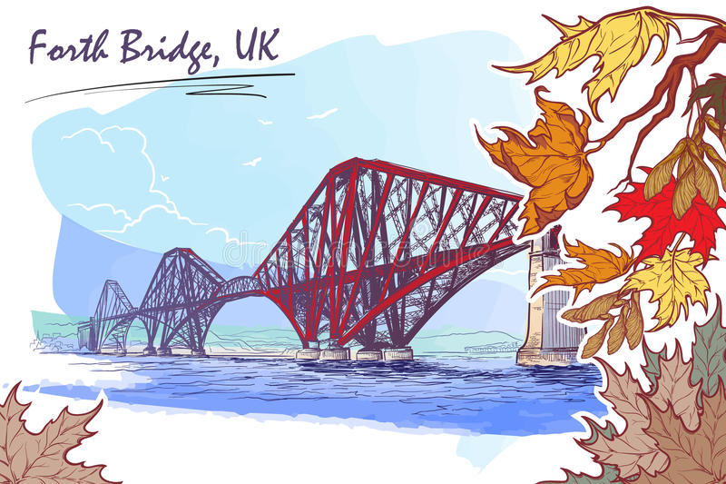 Forth Bridge painted sketch in autumn leaf frame. Firth of Forth cantilever railway bridge panorama. Autumn maple leaves frame. Seasonal greeting card or banner stock illustration