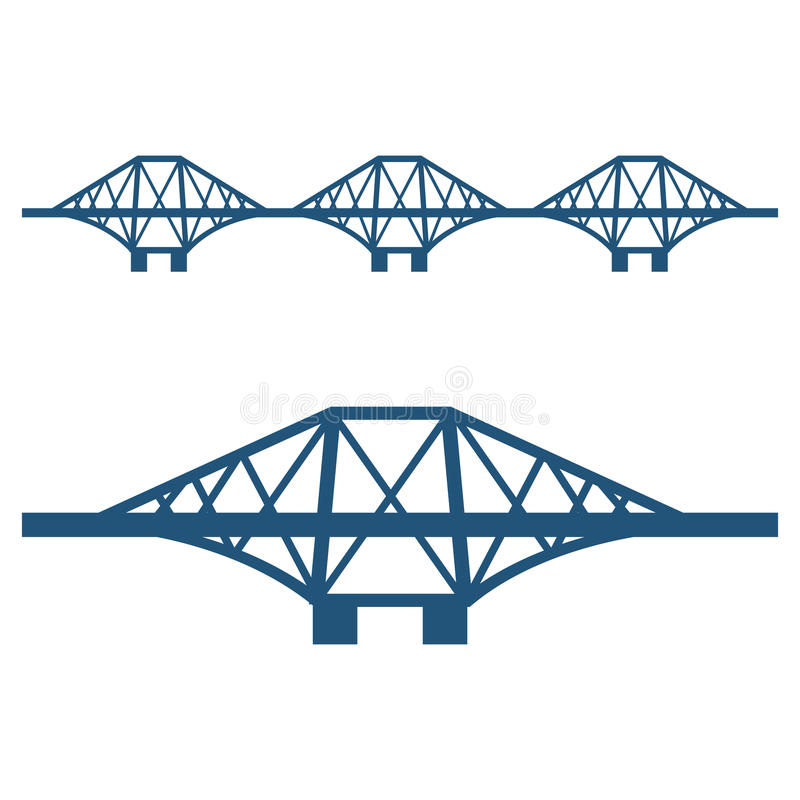 Forth Bridge set of blue silhouette isolated on white. Forth Bridge set of blue silhouettes isolated on white background. Vector illustration of cantilever stock illustration