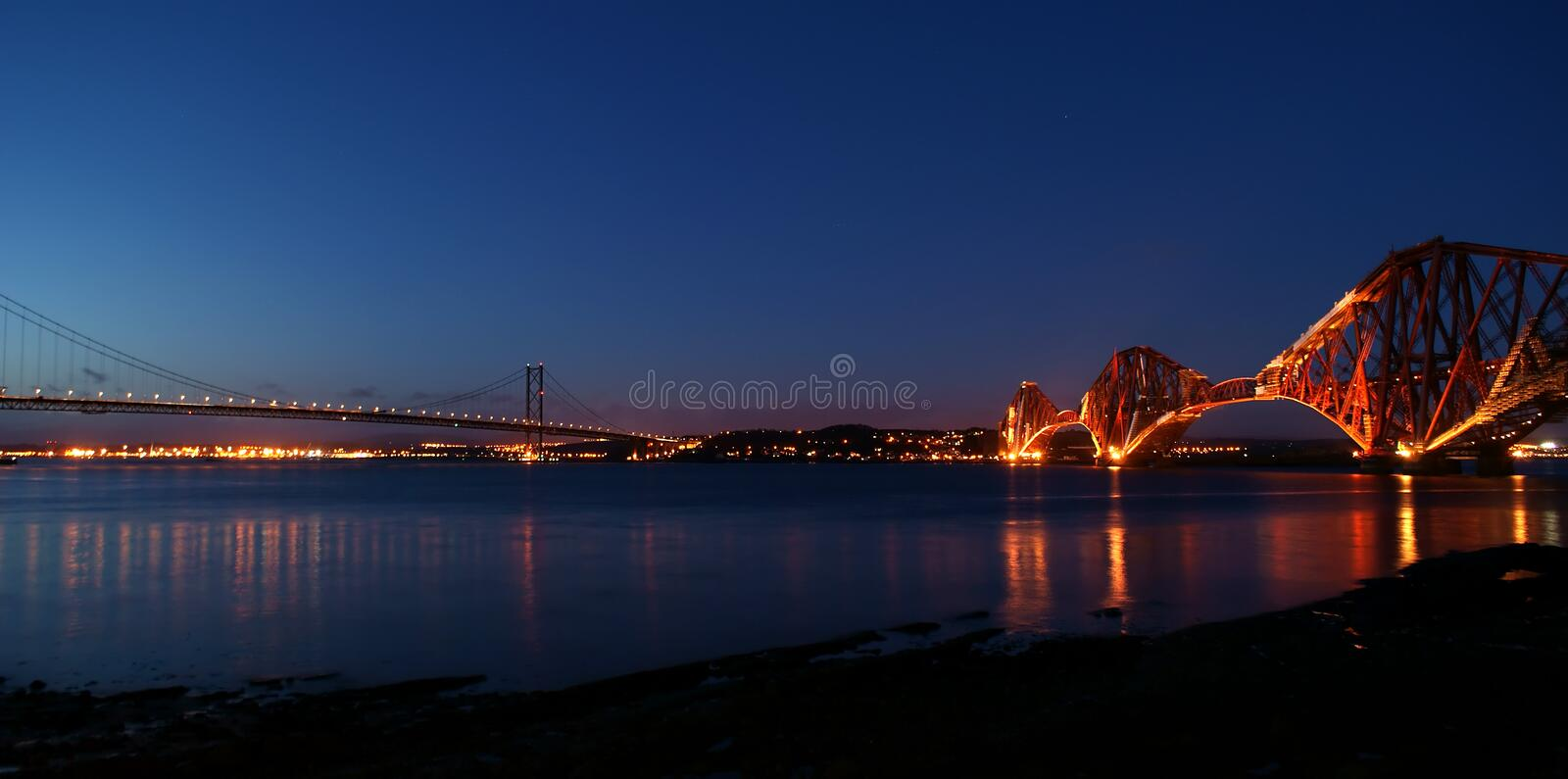 Download Forth Bridges at Night stock image. Image of rail, forth - 13071081