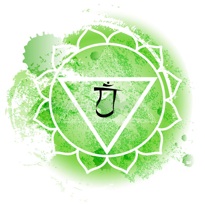 Forth chakra anahata on green watercolor background. Yoga icon, healthy lifestyle concept. Vector illustration vector illustration