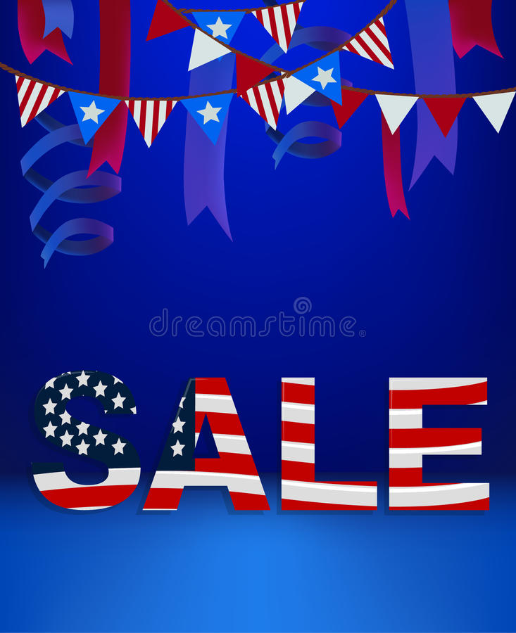 4 Forth of July banner text sale template scene stage podium background. Decorated. American flag stars stripes ribbon USA independence day sales poster royalty free illustration
