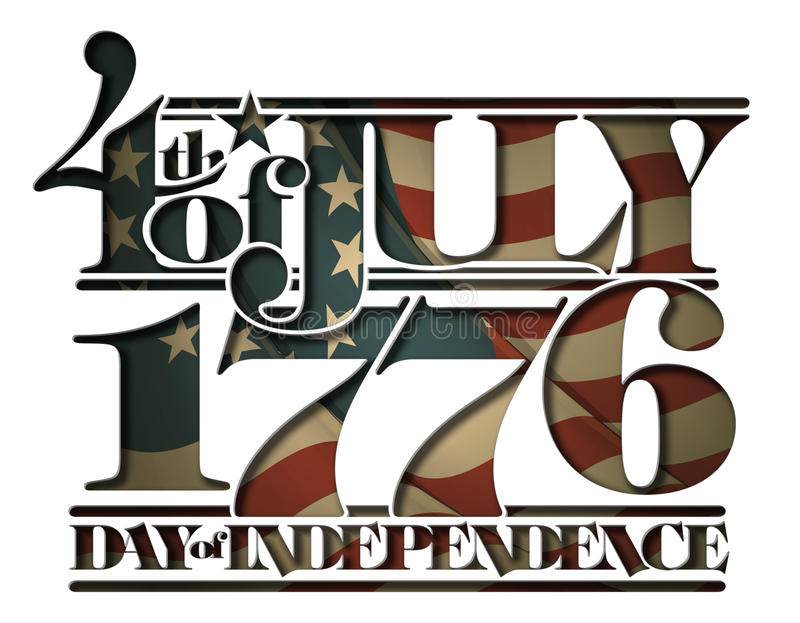 Forth of July 1776 Doay of Independence Cut-Out. Typographic art cut-out with a waving Betsy Ross American flag underneath. The Settle thickness on the cut-out royalty free illustration
