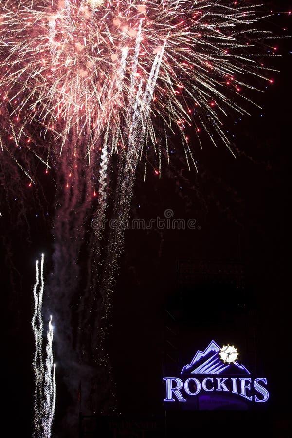 Forth of July inside Colorado Rockies Stadium. Fireworks in Colorado inside Rockies Stadium stock photos