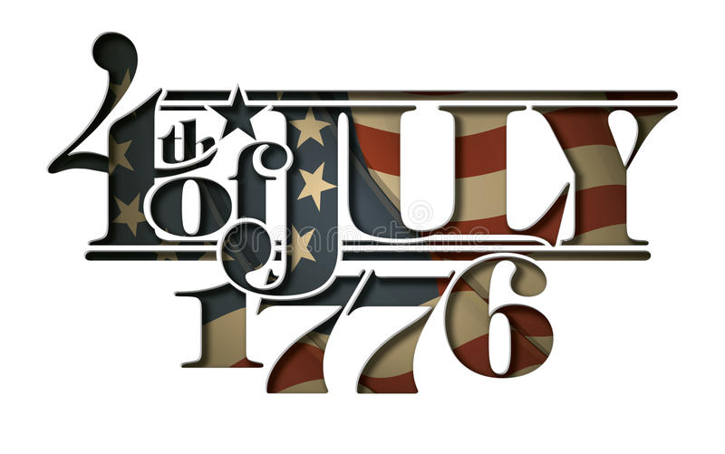 Forth of July 1776 Lettering Cut-Out. Typographic art cut-out with a waving Betsy Ross American flag underneath. The Settle thickness on the cut-out border royalty free illustration