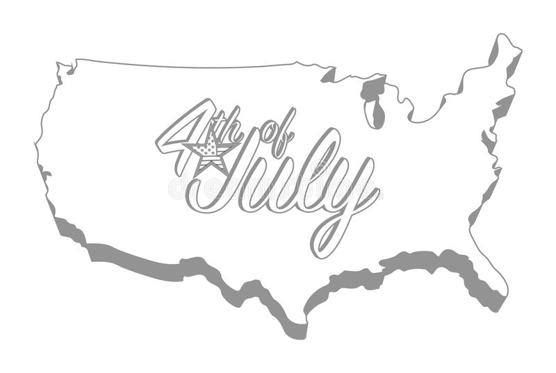 Forth of july map sign design graphic concept. Vector Illustration. Isolated over a white background vector illustration