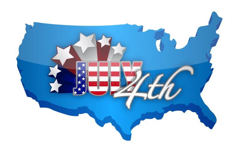 Forth of july map sign. Illustration design over a white background royalty free illustration