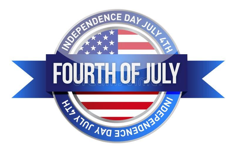Forth of july. us seal and banner. Illustration design vector illustration
