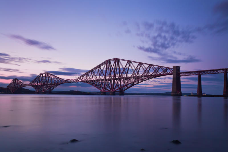 The Forth Rail Bridge Edinburgh, Scotl. The Forth Rail Bridge crossing between Fife and Edinburgh, Scotland. Night scene stock photos