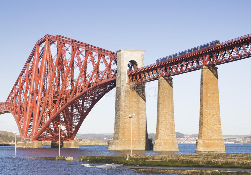 Forth Rail Bridge in Edinburgh, Scotland. Forth Rail Bridge, Edinburgh, Scotland.This bridge connects the towns of North and South Queensferry stock photo