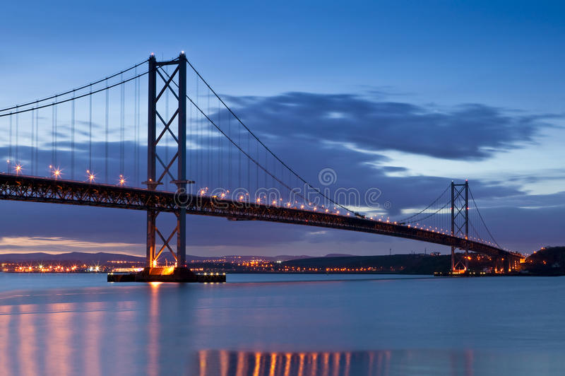 Forth Road Bridge, Edinburgh, Scotland. The Forth Road Bridge at twilight, just after sunset, as viewed from the Edinburgh side, South Queensferry stock photo