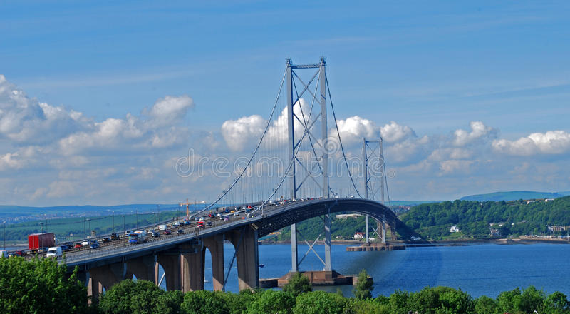 Forth road bridge before New Queensferry Crossing was built royalty free stock photo