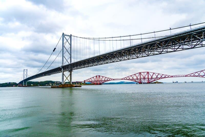 Forth Road and Rail Bridges in Queensferry, Edinburgh, Scotland royalty free stock photo