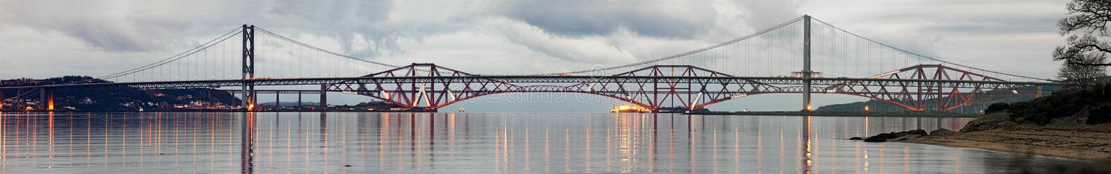 Forth Road and Rail Bridges on a still evening