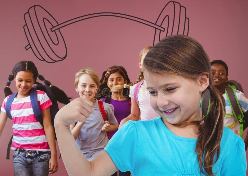 Forti bambini divertendosi con i pesi rossi del bilanciere e del fondo grafici illustrazione di stock