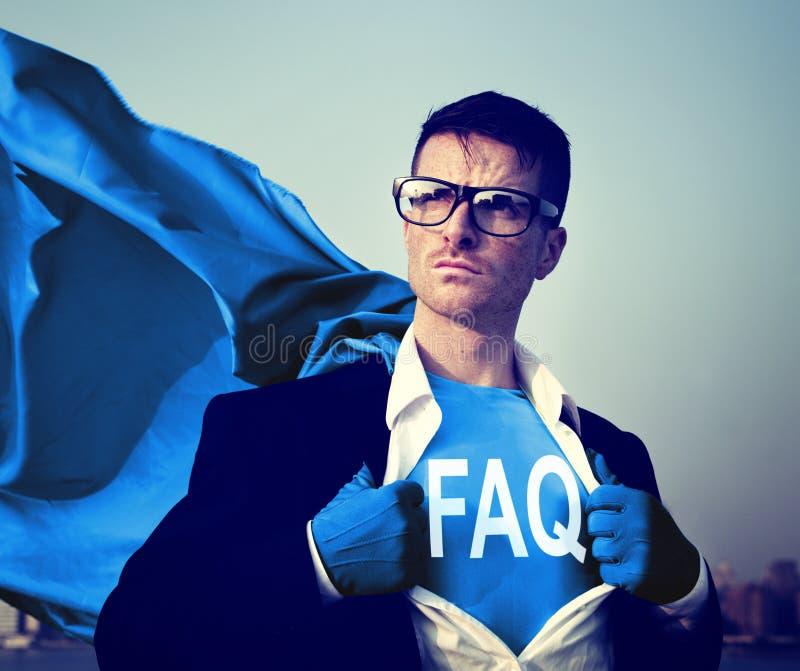 Forti concetti del FAQ dell'uomo d'affari del supereroe fotografie stock libere da diritti