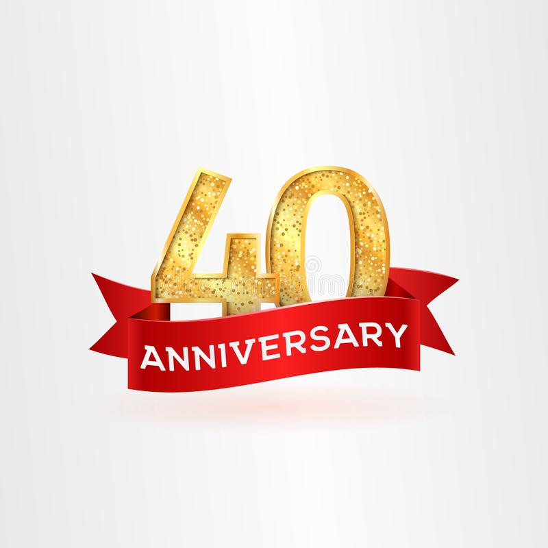 The fortieth anniversary golden logo with red ribbon vector illustration Number fourty template 皇族释放例证