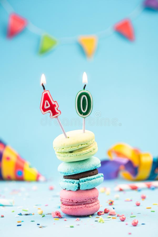 Fortieth 40th Birthday Card with Candle in Colorful Macaroons and Sprinkles. Card Mockup stock photography