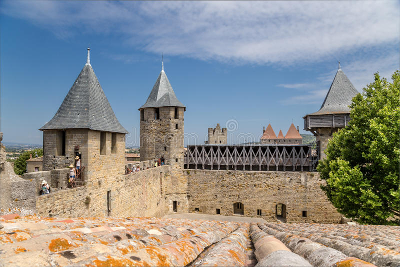 Fortification of the castle Comtal in the fortress of Carcassonne (France), 1130. UNESCO List. Chateau Comtal is located within the fortress of Carcassonne royalty free stock photos