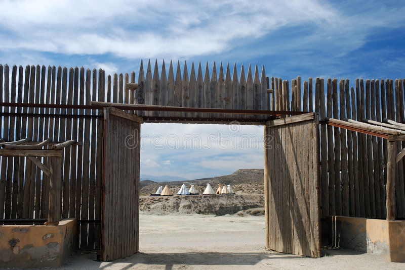 Fortification and native american village stock image