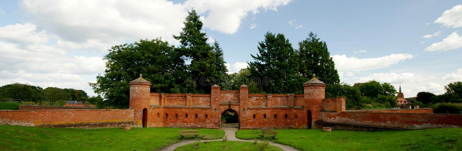 Fortification Portal. One of the portals of the pentacon-shaped midieval fortification of Doemitz, a small town on the southern flank of Mecklenburg-Vorpommern ( stock photography