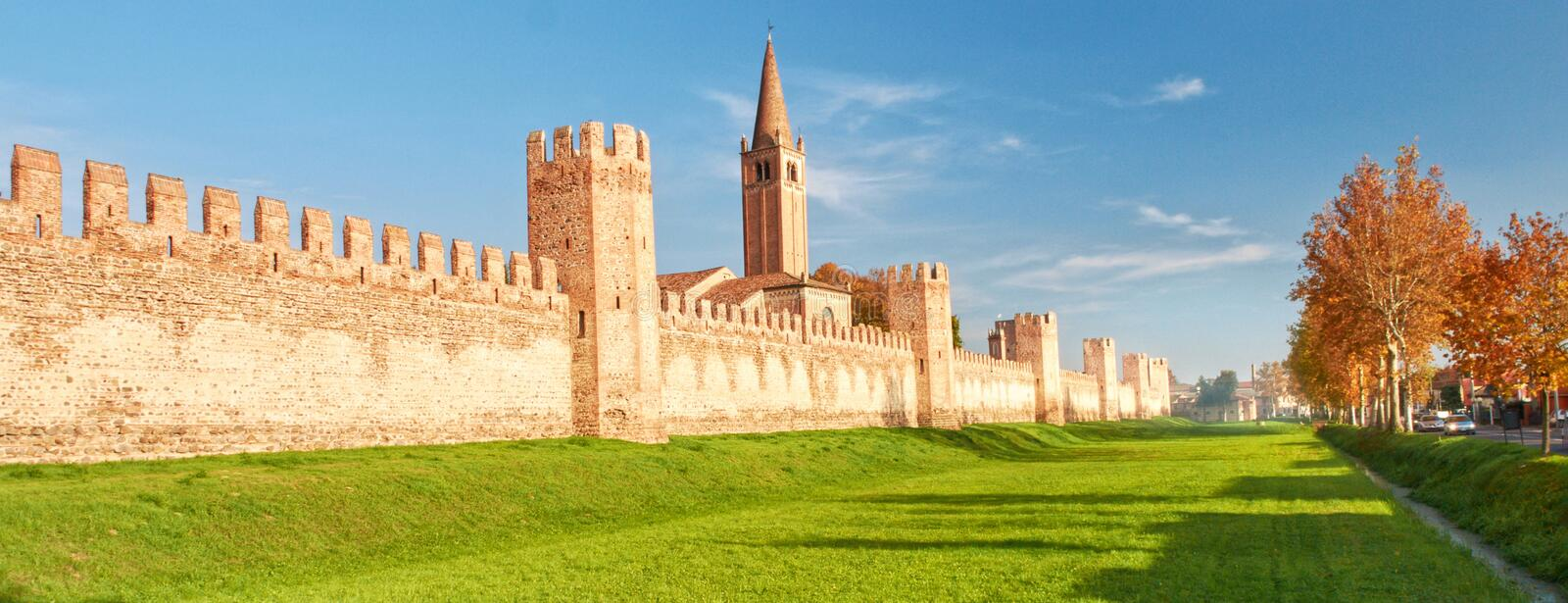 Fortification of small town in north of Italy Montagnana. Fortification of the small town in the north of Italy Montagnana Near Verona stock photo
