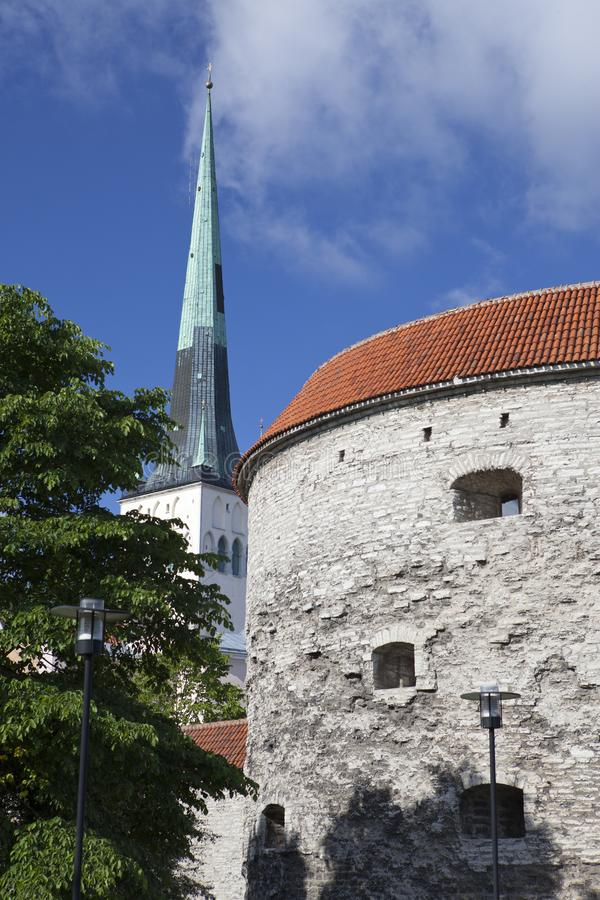 Fortification towers, tower Fat Margarita in the foreground, Tallinn, Estonia royalty free stock images