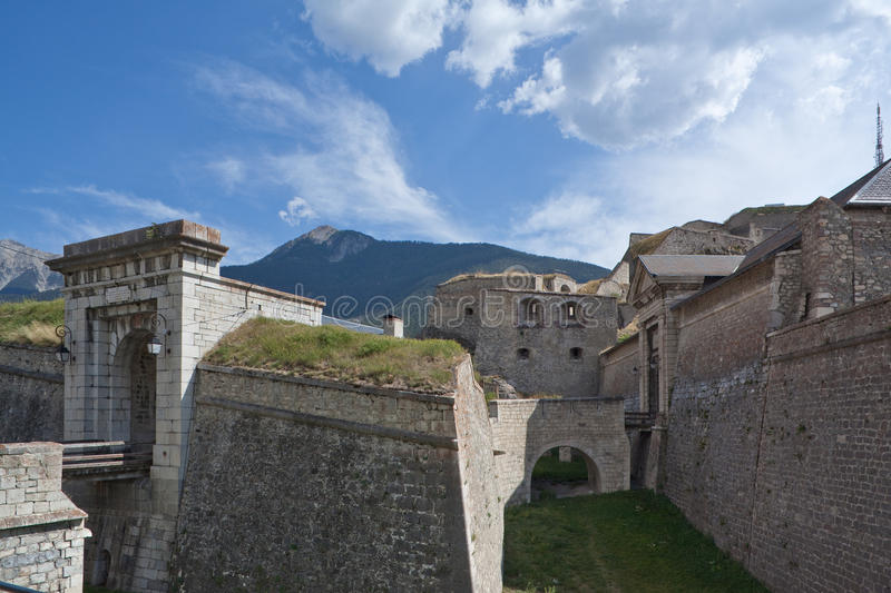 Fortifications of Briancon by Vauban. Fortifications and gates of Briancon (France) designed by Vauban royalty free stock photo