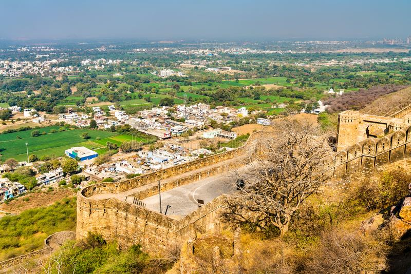 Fortifications of Chittor Fort in Chittorgarh city of India royalty free stock images