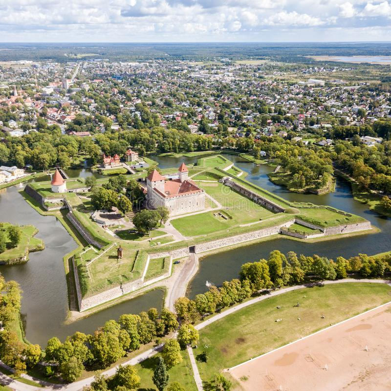 Fortifications of Kuressaare episcopal castle star fort, bastion fortress built by Teutonic Order, Saaremaa island, western royalty free stock photo