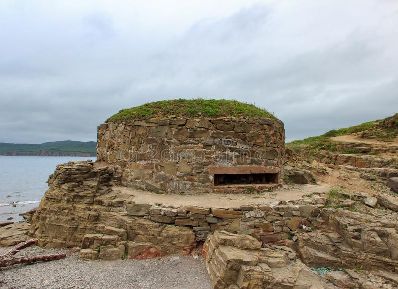 Fortifications of the Second World War DOT on Cape Tobisin Tobizin  Vladivostok. Fortifications of the Second World War DOT on Cape Tobisin Tobizin of the stock photography
