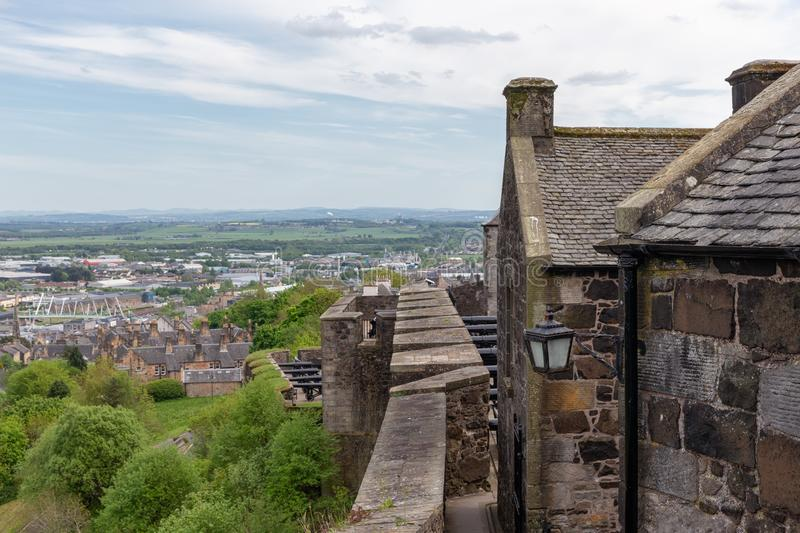 Fortifications Stirling Castle with an aerial view over Scottish fields. Fortifications Stirling Castle with an aerial view over the Scottish fields royalty free stock photo