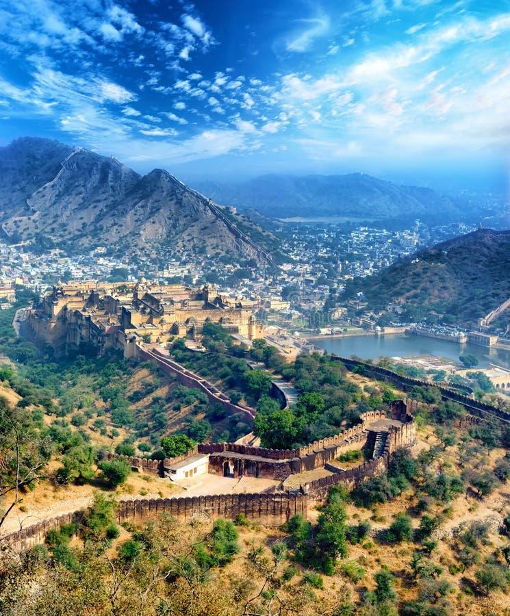 Fortificazione ambrata dell'India Jaipur nel Ragiastan fotografia stock libera da diritti