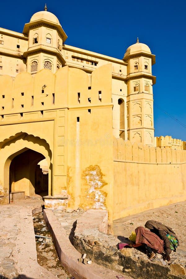 Fortificazione ambrata, Jaipur, India. immagini stock